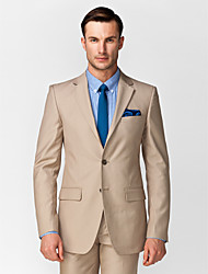 Brown Polyester Tailored Fit Two-Piece Suit