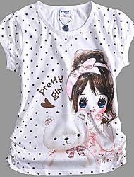 Mädchen Cotton Nette Tupfen-Cartoon-Muster Seitenfalten Puff Short Sleeve T-Shirt