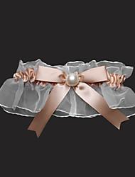 Lindo cetim e tule com bowknot e ligas de casamento imitação de pérolas