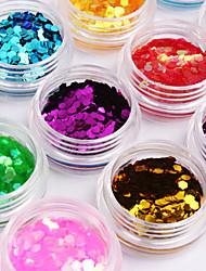 12 colores hexagonales Glitter Tabletas Decoración de uñas de arte