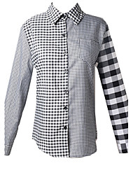 Women's Plaid Blouse , Shirt Collar Long Sleeve