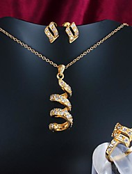 Gold Plated Jewelry Set with Necklace and Earring