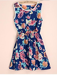 Women's Printing Floral Sleeveless Elastic Waist Slim Dress