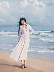 Women's Beach Swing Dress,Solid Round Neck Midi Long Sleeve Pink All Seasons