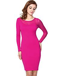 Missmay Moda feminina Contrato de malha com bolinhas Vestidos