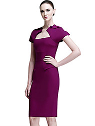 Women's Work Solid Sheath Dress , Asymmetrical Knee-length Polyester