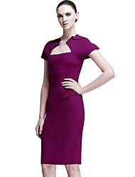 Women's Work Sheath Dress,Solid Asymmetrical Knee-length Short Sleeve White / Purple Polyester All Seasons