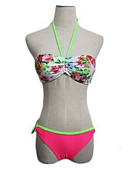 Mulheres da cópia floral mangas Halter Bikini
