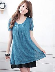Women's Lace Black/Blue/Purple Dress , Casual/Plus Sizes Round Neck Short Sleeve Pleated