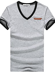 Herren T-shirt-Einfarbig Freizeit / Büro / Sport Baumwolle Kurz-Schwarz / Blau / Lila / Rot / Weiß / Gelb / Grau