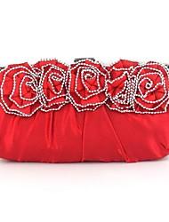 Feminino Seda Casamento Bolsa de Festa Vermelho Prateado Preto