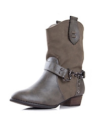 ZHUOMUNIAO Women's Leather Chunky Heel Boots(Gray)