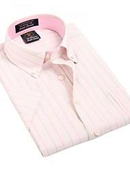 Été formelles affaires manches courtes Modal Chemises Oxford U-requin homme rayé rose Blouse Top EOZY