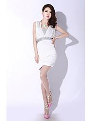 Mini vestido de lentejuelas imperio sin mangas Bodycon de la Mujer cuello en V Sexy