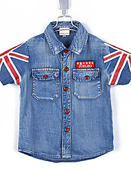 Denim Boy's Gewassen Summer Britse Versie Print Dubbele zakken met korte mouwen shirt
