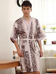 Herren Freizeit Halb Sleeve Printed Silk Pyjamas