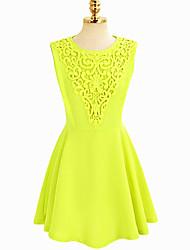 MFL Women's Elegant Jacquard Solid Color Sleevless Dress(Yellow)