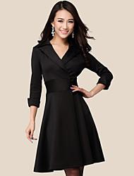 Fashion Queen Women's Simple Solid Colro Waist Chiffon Shirt(Black)