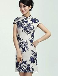 mini vestido stand, lino del vintage / del partido de las mujeres