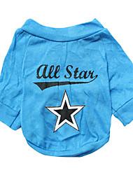 Dog Shirt / T-Shirt Blue Dog Clothes Spring/Fall Animal