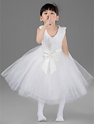Engagement Party / Formal Evening / Wedding Party / Vacation Dress - White Ball Gown Jewel Knee-length Satin / Tulle