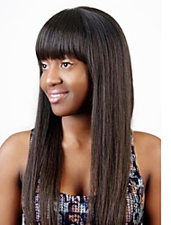 100% Brazilian Human Hair 18inch Front Lace Wig  with Neat Bangs Silky Straight OFF Black