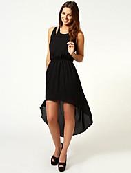Collier RICHCOCO femmes Slim rond sans manche asymétrique en mousseline de soie robe longue