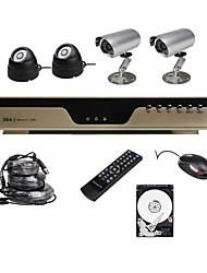 prezzo basso 4 chanel h.264 cctv dvr kit ultra con hard disk di visione notturna 4 telecamere CMOS 1tb