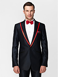 Dark Blue&Red Polyester Tailored Fit Two-Piece Tuxedo