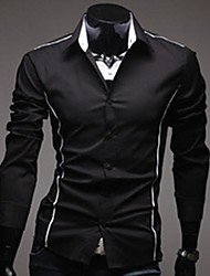 Men's Turnover Collar Business Leisure Long Sleeve Purity Colour Shirt