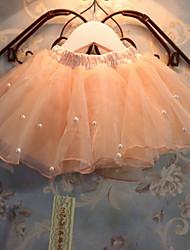 Primavera todas correspondan Dulce Princesa Perla gasa plisado vestido de bola de la mini falda de la muchacha