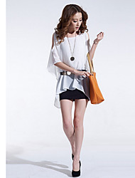 Handu Women's Off The Shoulder Half Sleeve Chiffon Dress White