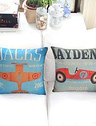 Set Of 2 Colorful Cartoon Painted Jet And Car Decorative Pillow Covers