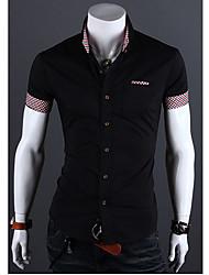 Fengshang Herren Kurzarm Lässige Kontrast Farbe Schwarz-Hemd