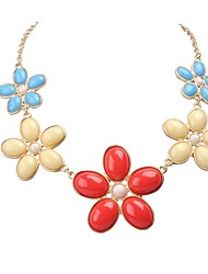 JANE STONE Colorful Gold Chain Fashion Flower Statement Necklace