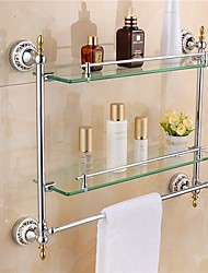 Bathroom Shelf Chrome Wall Mounted 54* 12 *47.5 cm(21*4.7*18inch) Brass / Glass Contemporary
