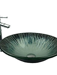 Dark Blue Hat Forme en verre trempé Évier avec robinet en bambou, Pop - Up Drain et anneau de montage