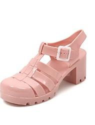 """Plastic Frauen """"Chunky Heel Round Toe Sandalen mit Schnallenschuhe (weitere Farben)"""