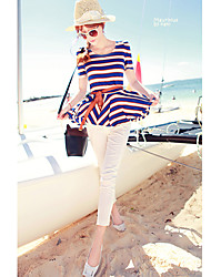 JiaSiMing Set:Round Collar Short Sleeve Stripes Tops&Long Solid Color Pants(Screen Color)