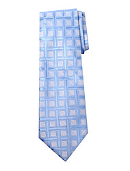 Men's Blue Gird Design Silk Long Tie