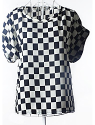Damen Schachbrett T-Shirt - Chiffon Kurzarm Rundhalsausschnitt
