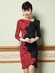 Mujeres Yiman ® Rose Imprimir ½ vestido Longitud de la manga