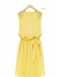 Kathy Cuello redondo elegante vestido de gasa sin mangas con los granos (Amarillo)