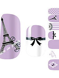 28PCS pourpres romantiques de Paris design Nail Art Stickers