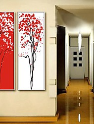 Abstract  Red and White Tree Art  Framed Canvas Print Set of  2