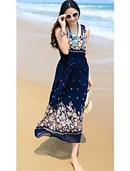 MuDiNa  Women's Bohemia Chiffon Elegant Slim Sleeveless Dress(Blue)