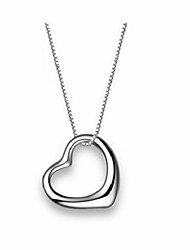Women Korean Female Pop The New Silver Heart Pendant Necklace Rhodium