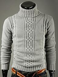 LEEBIN High Neck Asymmetrisches Langarm-Pullover (hellgrau)