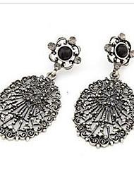 Cotingbo Vintage Skeleton Flower Diamond Pearl Earrings Random Color