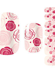 28PCS Pink Rose Design Nagel-Kunst-Aufkleber
